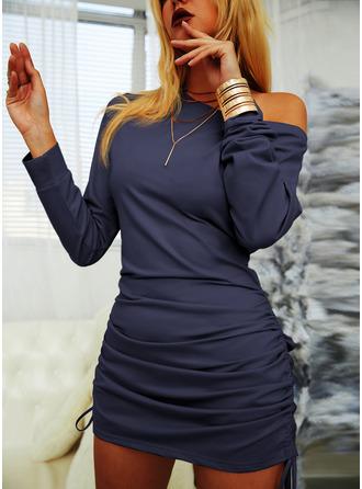 Pevný Přiléhavé Dlouhé rukávy Mini Malé černé Neformální Mikina Módní šaty