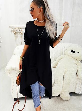 Jednolity Suknie shift Długie rękawy Asymetryczny Mała czarna Nieformalny Tunika Modne Suknie