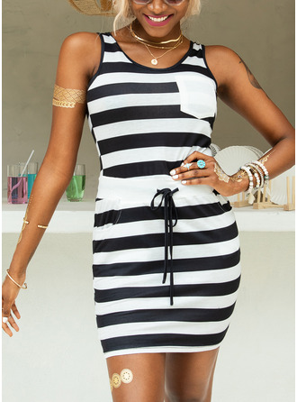 Above Knee Strap Polyester/Cotton Print Sleeveless Fashion Dresses