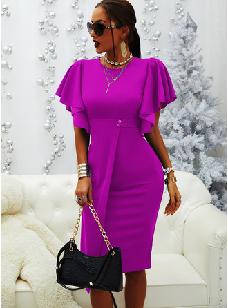 Solid Bodycon Flare Sleeve Short Sleeves Midi Party Elegant Pencil Dresses