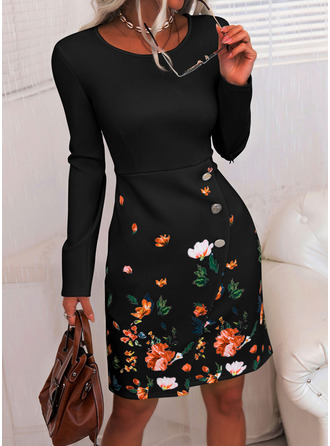 Floral Print Bodycon Long Sleeves Midi Elegant Pencil Dresses