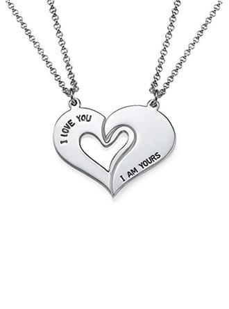 Personaliseret Par' Evige Kærlighed 925 Sterling Sølv med hjerte Navn/indgraveret/Bar Halskæder Blomst pige