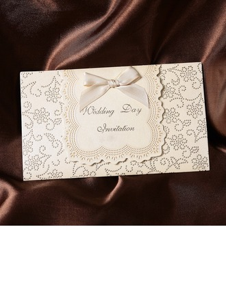 Classic Style Tri-Fold Invitation Cards With Ribbons (Set of 50)