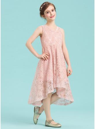 A-Line/Princess V-neck Asymmetrical Lace Junior Bridesmaid Dress