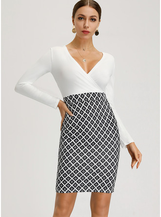 Print Bodycon Long Sleeves Mini Casual Elegant Sexy Pencil Dresses