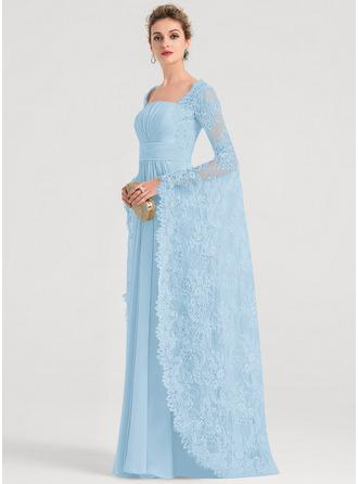 A-Line Square Neckline Floor-Length Chiffon Evening Dress With Ruffle Beading