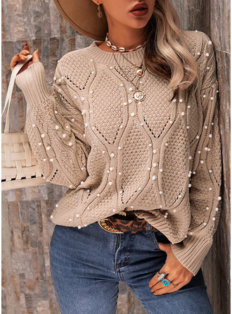 Round Neck Casual Beaded Solid Cable-knit Sweaters