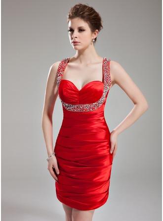 Sheath/Column Sweetheart Short/Mini Charmeuse Homecoming Dress With Ruffle Beading Sequins