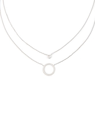 Silver Circle Double Pendant Necklace - Christmas Gifts