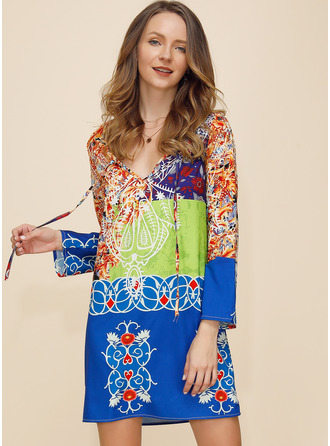 Print Shift Long Sleeves Mini Boho Vacation Dresses