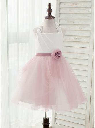 Forme Princesse Longueur genou Robes à Fleurs pour Filles - Mousseline/Tulle Sans manches Dos nu avec Fleur(s) (bande détachable)