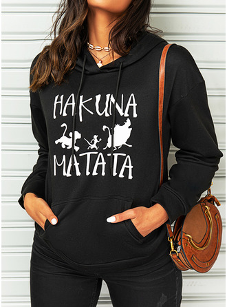 Print Pockets Figure Long Sleeves Hoodie