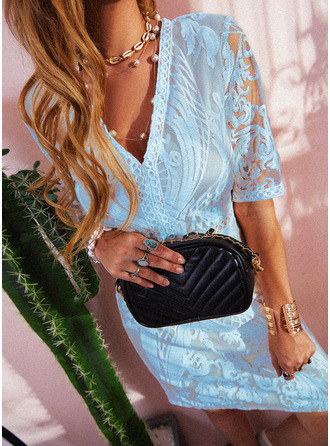 Lace Solid A-line 1/2 Sleeves Mini Elegant Skater Dresses
