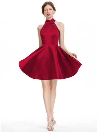 A-Line High Neck Short/Mini Satin Homecoming Dress