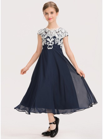 A-Linie U-Ausschnitt Wadenlang Chiffon Spitze Kleid für junge Brautjungfern