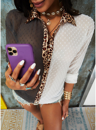 Leopard PolkaDot Lapel Long Sleeves Button Up Casual Shirt Blouses