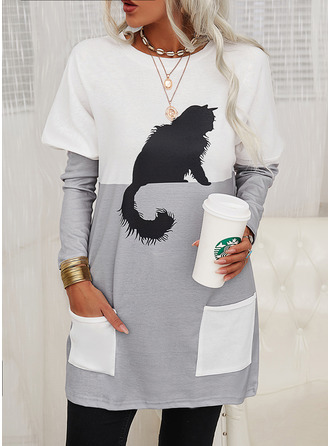 Animal Print Color Block Round Neck Long Sleeves Sweatshirt