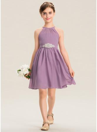A-Linie U-Ausschnitt Knielang Chiffon Kleid für junge Brautjungfern mit Rüschen Perlstickerei