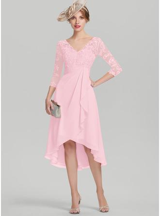 A-Linie V-Ausschnitt Asymmetrisch Chiffon Spitze Kleid für die Brautmutter mit Gestufte Rüschen