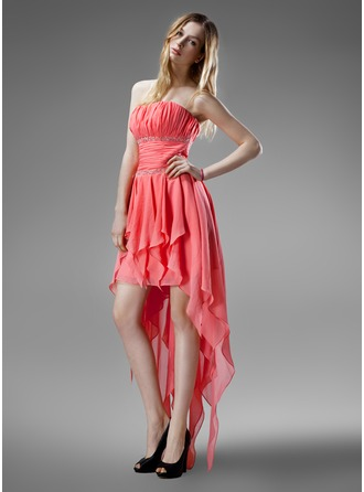 A-Line/Princess Strapless Asymmetrical Chiffon Homecoming Dress With Beading Cascading Ruffles