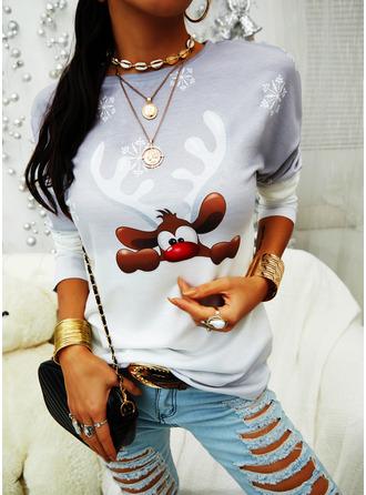 Animal Print Tie Dye Round Neck Long Sleeves Christmas Sweatshirt