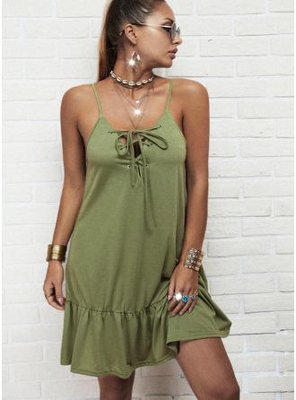 Solid Ruffles Shift Sleeveless Mini Casual Type Dresses