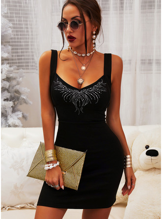 Print Sequins Bodycon Sleeveless Mini Little Black Casual Sexy Dresses