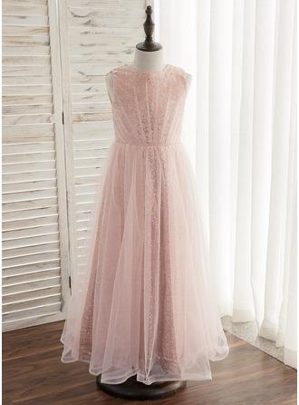 Corte A/Princesa Hasta el tobillo Vestidos de Niña Florista - Tul/Con lentejuelas Sin mangas Escote redondo con Plisado