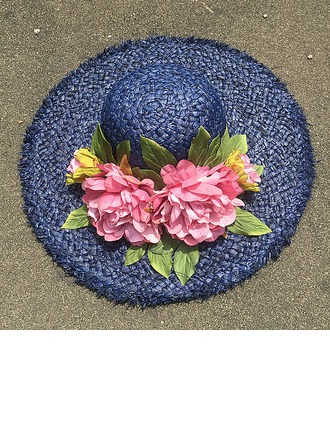 Ladies' Beautiful Raffia Straw With Silk Flower Floppy Hat/Straw Hat
