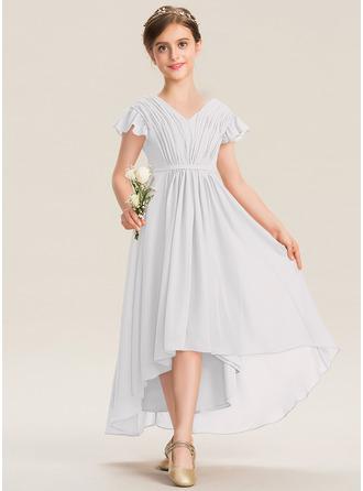 A-linjainen V-kaula-aukko Epäsymmetrinen Sifonki Nuorten morsiusneito mekko jossa Rusetti Laskeutuva röyhelö