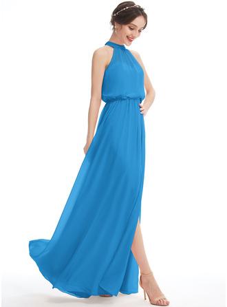 A-Line Halter Floor-Length Bridesmaid Dress With Split Front
