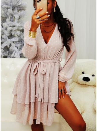 Cu Bulină Bir Çizgi Mâneci Lungi Mini gündelik Patenci Moda Elbiseler