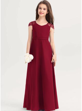 A-linjainen V-kaula-aukko Lattiaa hipova pituus Sifonki Pitsi Nuorten morsiusneito mekko jossa Rusetti