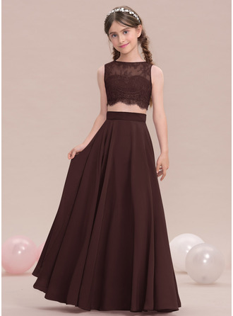 Vestidos princesa/ Formato A Decote redondo Longos Tecido de seda Vestido de daminha júnior
