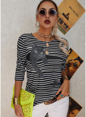 Animal Print Striped Round Neck Long Sleeves Casual T-shirt