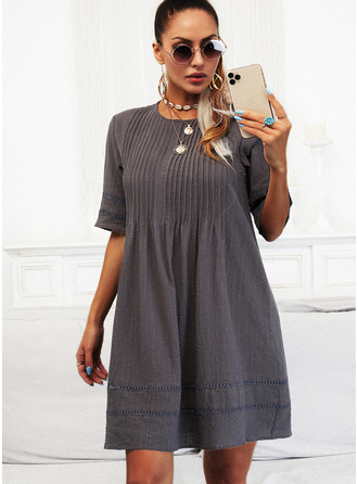 Solid Shift 1/2 Sleeves Mini Casual Tunic Dresses