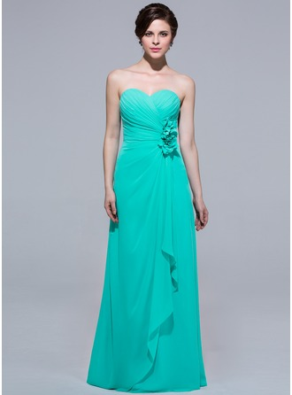 A-Line Sweetheart Floor-length Chiffon Bridesmaid Dress With Flowers And Cascading Ruffles