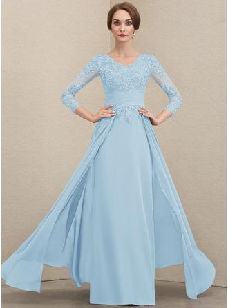 Трапеция V-образный Длина до пола шифон Кружева Платье Для Матери Невесты с Рябь