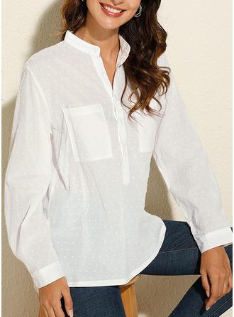 PolkaDot V-Neck Long Sleeves Casual Shirt Blouses