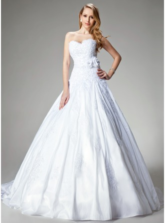 Ball-Gown Sweetheart Chapel Train Taffeta Wedding Dress With Lace Beading Flower(s)