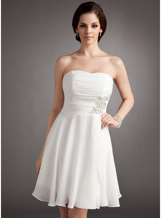 A-Line Strapless Knee-Length Chiffon Wedding Dress With Ruffle Lace Beading Sequins