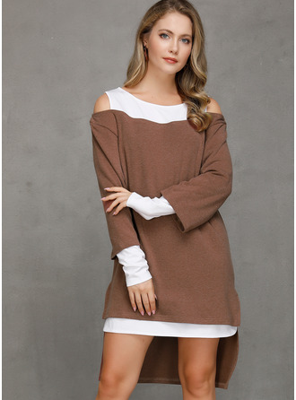 Color Block Shift Long Sleeves Asymmetrical Casual Dresses