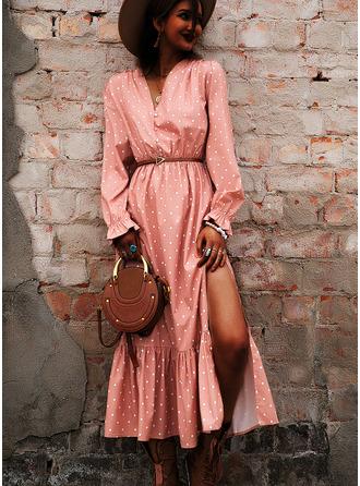 PolkaDot A-linjeklänning Långa ärmar Puffärmar Midi Fritids Elegant skater Modeklänningar