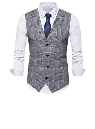 Plaid Polyester Katoen Heren vest