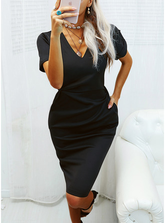 Solid Bodycon Short Sleeves Midi Little Black Casual Pencil Dresses