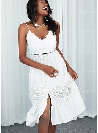 Lace Solid A-line Sleeveless Midi Casual Skater Type Dresses