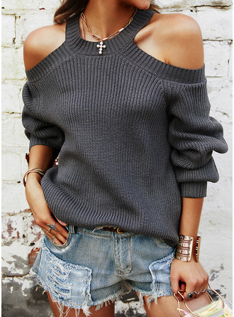 Cold Shoulder Casual Solid Ribbed Sweaters
