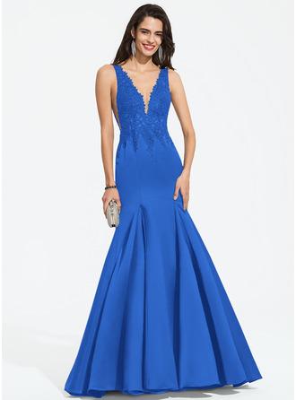 Trumpet/Mermaid V-neck Sweep Train Satin Prom Dresses With Beading