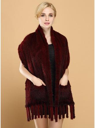 Colore solido Tempo freddo Fox Hair/Acqua Velvet Poncho