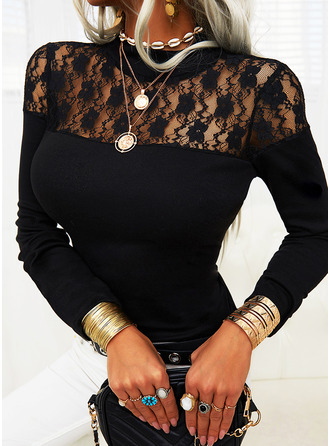 Lace Solid Stand collar Long Sleeves Elegant Blouses